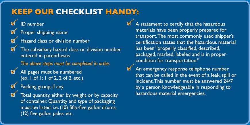 Hazmat Checklist